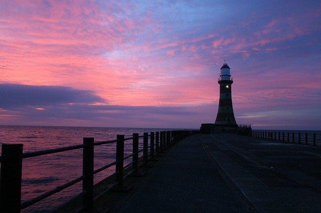 City Beach (Sunderland) lighthouse, beach, ocean, sky, shore